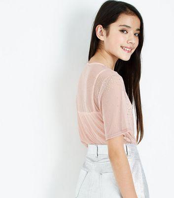 Teens Shell Pink Glitter Mesh Cami T-Shirt New Look
