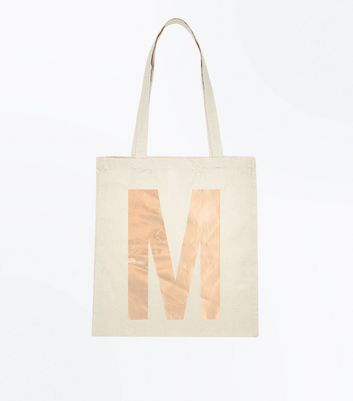 rose gold initial m canvas tote bag new look
