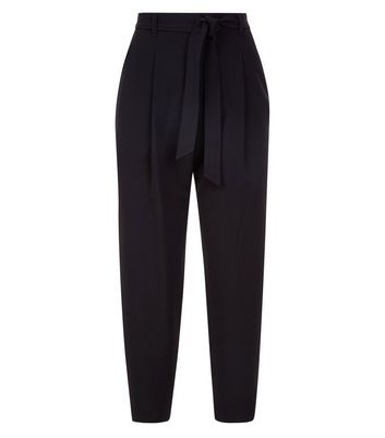 Petite Black Tie Waist Trousers New Look