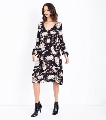 Maternity Black Floral Button Front Midi Dress New Look