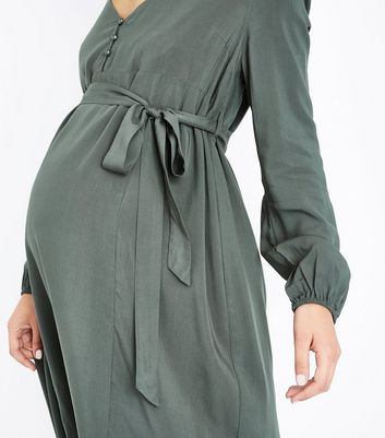 Maternity Khaki Button Front Midi Dress New Look
