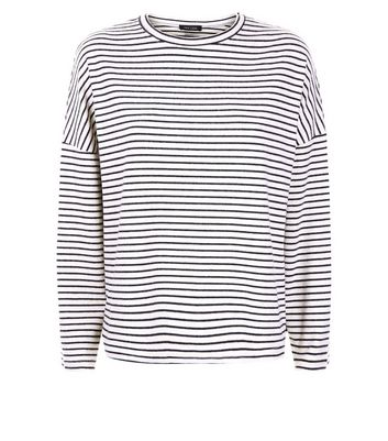 Cream Stripe Brushed Crew Neck Drop Sleeve T-Shirt New Look