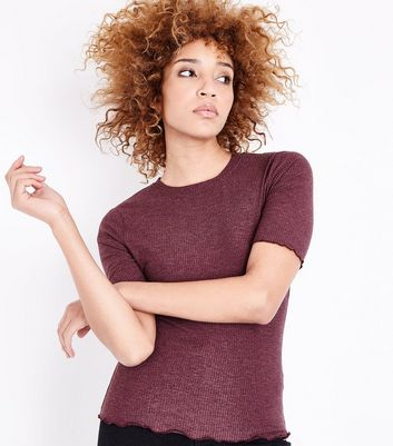 Burgundy Ribbed Half Sleeve T-Shirt New Look