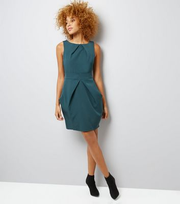 Apricot Green Pleated Tulip Dress New Look