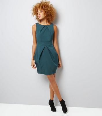 Apricot Green Pleated Tulip Dress New Look