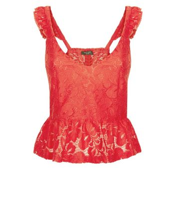 Petite Red Lace Peplum Cami Top New Look