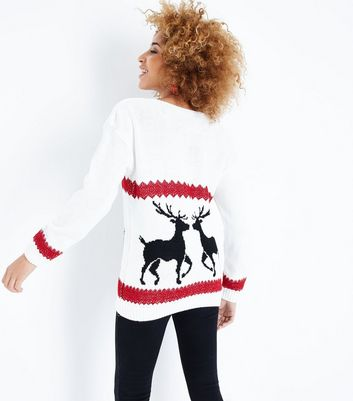 Mela Cream Reindeer Christmas Jumper New Look