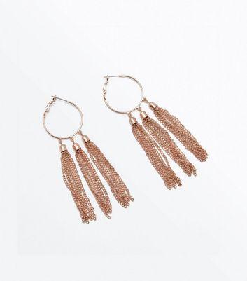 Gold Tassel Hoop Earrings New Look