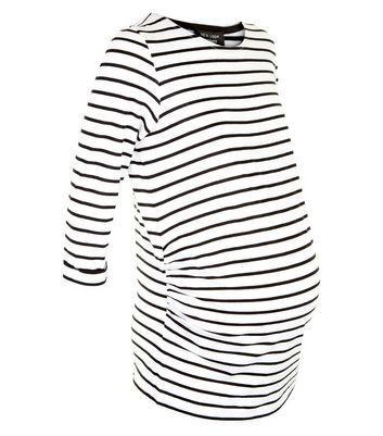 Maternity Black Stripe 3/4 Sleeve T-Shirt New Look