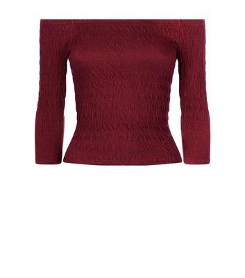 Teens Burgundy Shirred Bardot Neck Top New Look