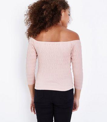 Teens Pale Pink Shirred 3/4 Sleeve Bardot Top New Look
