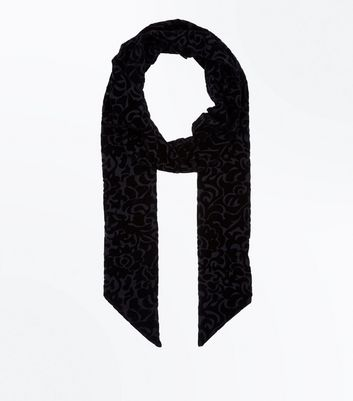 Black Floral Burnout Velvet Scarf New Look