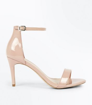 Nude Patent Stiletto Heel Sandals New Look