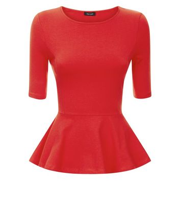 Red 1/2 Sleeve Peplum Hem Top New Look