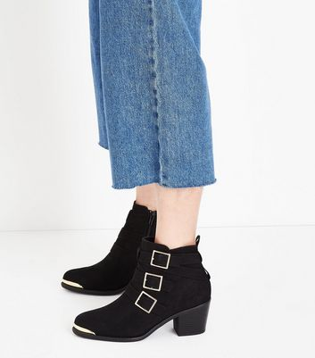 Black Suedette Triple Buckle Heeled Ankle Boots New Look