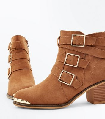 Tan Suedette Triple Buckle Heeled Ankle Boots New Look