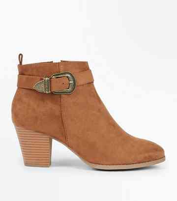 Tan Suedette Western Buckle Strap Heeled Boots