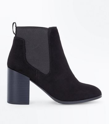 Black Suedette Tab Back Chelsea Boots New Look