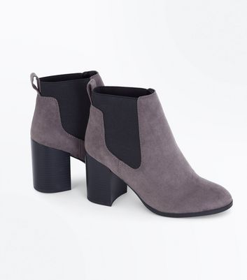 Grey Suedette Tab Back Chelsea Boots New Look