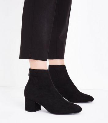 Black Suedette Block Heel Ankle Boots New Look