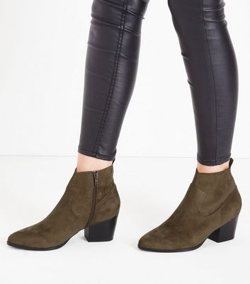 Khaki Suedette Western Ankle Boots New Look