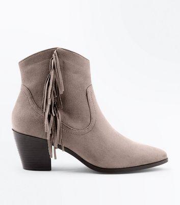 Mink Fringe Side Heeled Western Ankle Boots New Look
