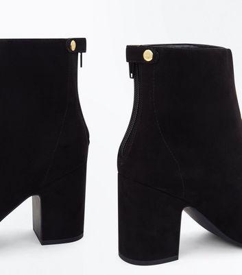 Black Suedette Popper Zip Back Heeled Boots New Look