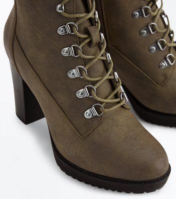 Khaki Block Heel Hiker Boots New Look