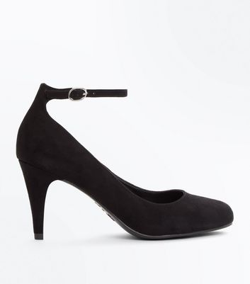 Black Suedette Round Toe Ankle Strap Courts New Look