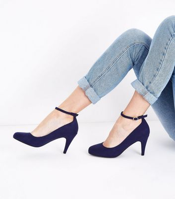 Navy Suedette Round Toe Ankle Strap Courts New Look