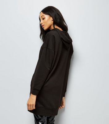 Black Pocket Front Longline Hoodie New Look
