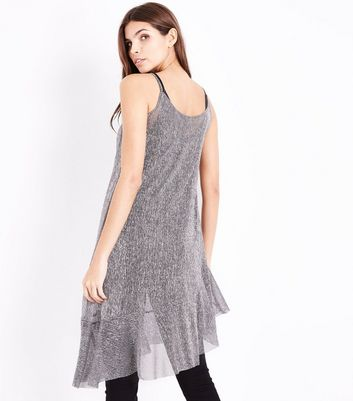 Silver Metallic Asymmetric Slip Dress New Look