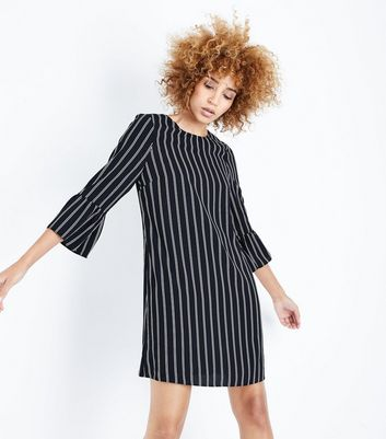 Black Stripe Bell Sleeve Tunic Dress New Look
