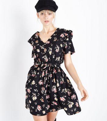 Black Floral Button Front Frill Trim Tea Dress New Look