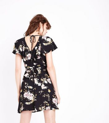 Black Floral Frill Trim Tie Back Tea Dress New Look