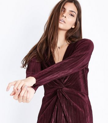 Burgundy Knot Front Plisse Playsuit New Look