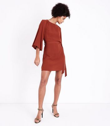 Rust Puff Sleeve Belted Tunic Dress New Look