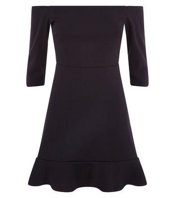 Black Bardot Neck Frill Hem Dress New Look