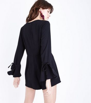 Black Bell Sleeve Playsuit New Look
