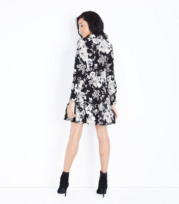 Black Floral Print Long Sleeve Shirt Dress New Look