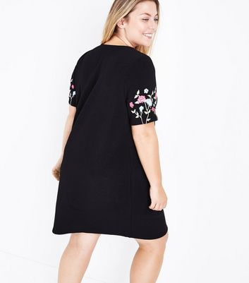 Curves Black Floral Print Tunic Dress New Look