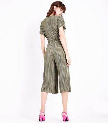 Khaki Plisse Wrap Front Culotte Jumpsuit New Look