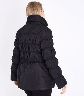 Curves Black Belted Puffer Jacket New Look