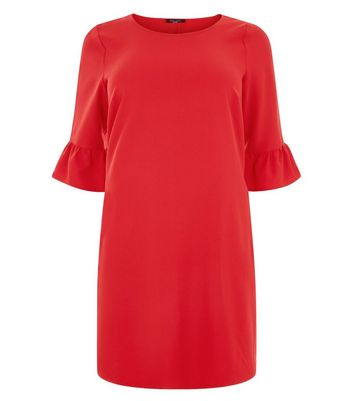 Curves Red Bell Sleeve Tunic Dress New Look