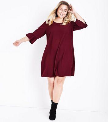Curves Burgundy Bell Sleeve Tunic Dress New Look