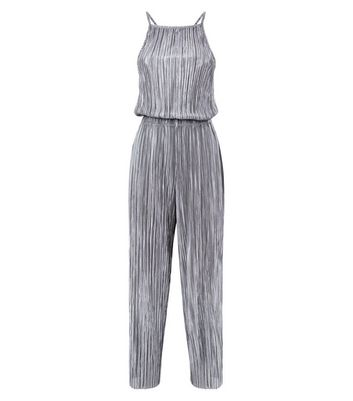 Grey Plisse High Neck Jumpsuit New Look