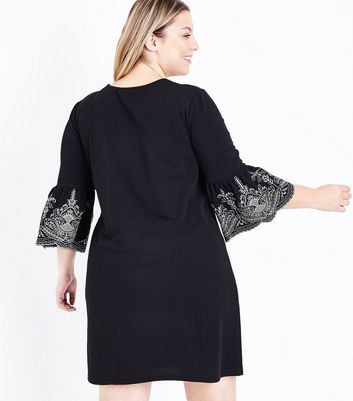 Curves Black Embroidered Bell Sleeve Tunic Dress New Look