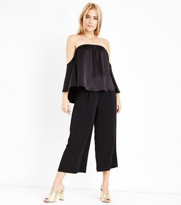 Black Satin Cape Sleeve Bardot Top New Look