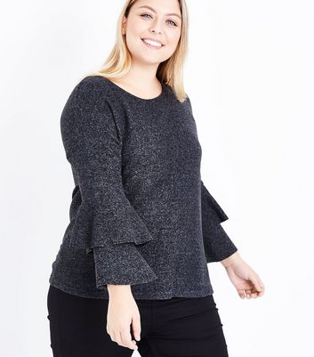 Curves Grey Textured Tier Sleeve Top New Look