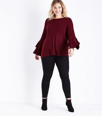 Curves Burgundy Brushed Tiered Sleeve Top New Look
